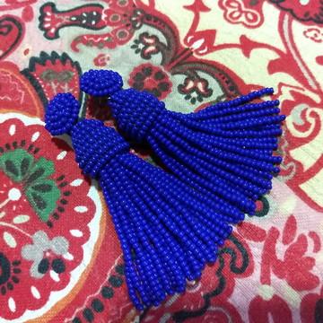 Brinco Tassel de Miçangas - Azul Royal