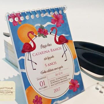 Bloquinho Aniversário Flamingo Tropical 10x14