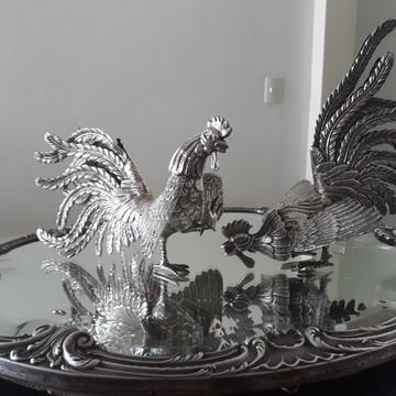 antiguidade em prata (50 anos), 950, set de galos e espelho.