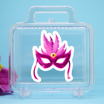 Maletinha de acrílico com adesivo - máscara carnaval