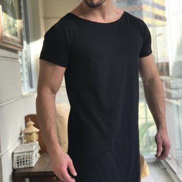afa4e9cd6 Camiseta Preta Oversized Longline Alongada Masculina