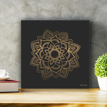 Placa Decorativa Mandala Dourada Tamanho P