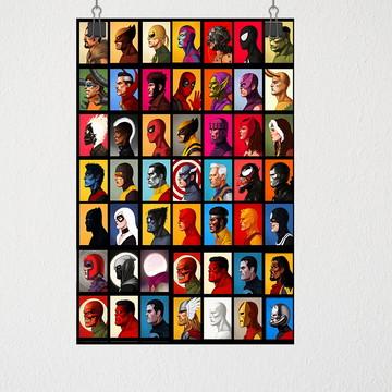 Poster A3 Todos da marvel