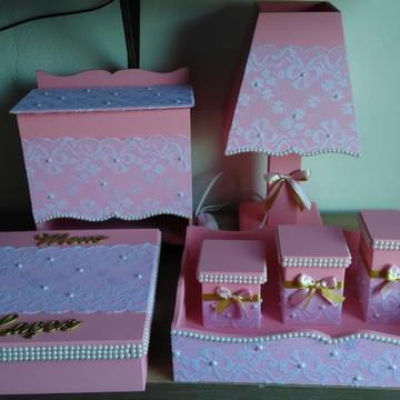 Kit de higiene bebe decorado em renda