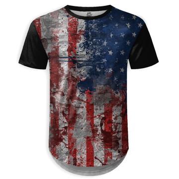 9a31e5e96c Camiseta Longline Masculina Bandeira EUA Estampa Digital