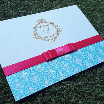 Convite 15 Anos Azul Tiffany Rosa Coroa Dourada