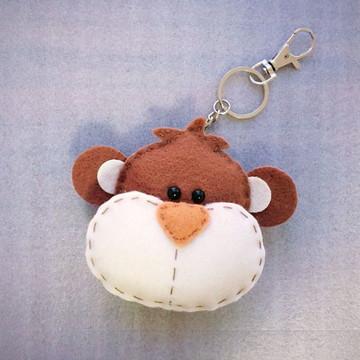 Chaveiro de macaco em feltro