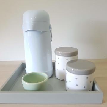 Kit Higiene Bebe Porcelana Poa Verde com cinza