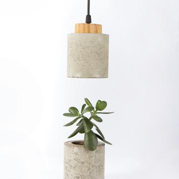 Conjunto Luminária Cilíndrica Com Vasinho De Concreto