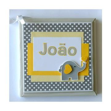 Livro do Bebê Personalizado elefantinho amarelo e cinza