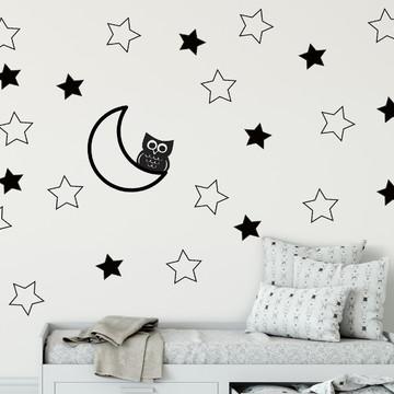 Adesivo Meia lua,coruja e estrelas