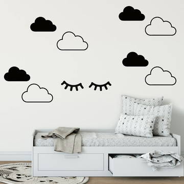 Adesivo nuvens com cílios