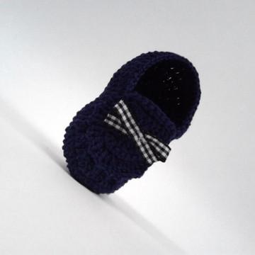 A416 Sapatinho de Croche bebe Menino azul marinho Masculino