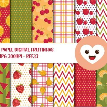 Kit Papel Digital Imagem Frutinhas Quitanda Feirinha mod33
