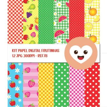 Kit Papel Digital Frutas Frutinhas Quitanda Feira mod78
