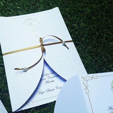 Convite Dourado Casamento com Fita de Cetim Redondo