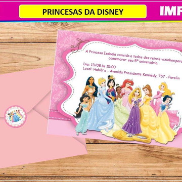 Convite Impresso Princesas da Disney