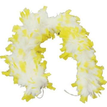 Estola de Pluma Amarelo com branco