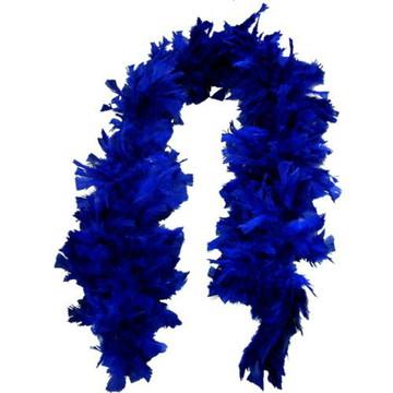 Estola de Pluma Azul Escuro