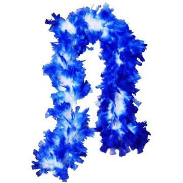 Estola de Pluma Azul com branco