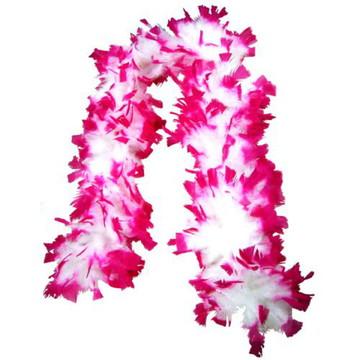 Estola de Pluma Pink com branco