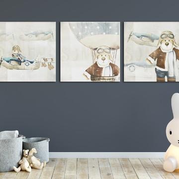 quadros urso aviador- decoraçao menino- urso
