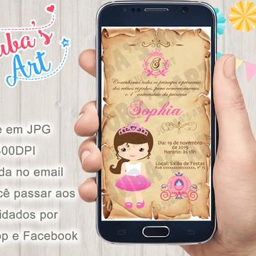 Convite Digital Reinado Princesa Pergaminho para Whatsapp