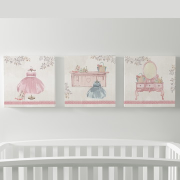 quadros menina - romântico - trio de quadros prontos