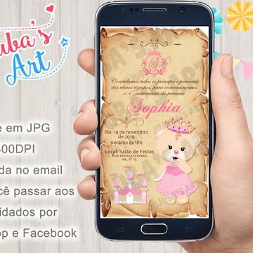 Convite Digital Ursinha Princesa Pergaminho para Whatsapp