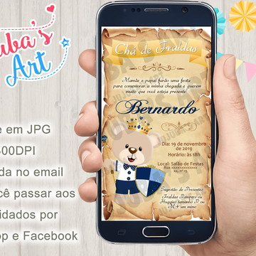 Convite Digital Chá de Bebê Urso Príncipe Pergaminho
