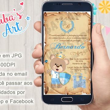 Convite Digital Urso Príncipe Pergaminho Para Whatsapp