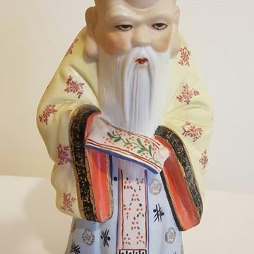Escultura Em Porcelana Chinesa De Sábio Policromada - 22 Cm