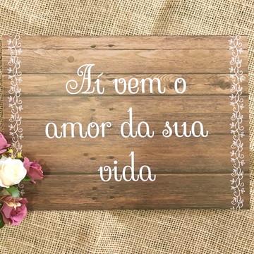 Casamento Placa Rustica Daminha e Pajem