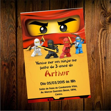 convite arte digital (virtual) Ninjago