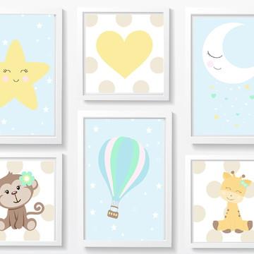 Quadro decoração Bebê menina borboleta e coração - A4