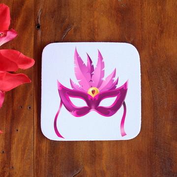 Porta-copo de neoprene e tecido sublimado - máscara carnaval