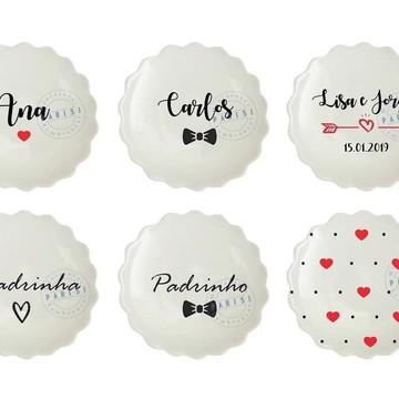 Bandejinha de porcelana joia do dia casamento