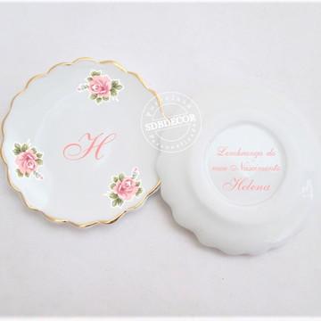 Bandejinha de porcelana joia do dia flores Helena rosa