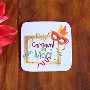 Porta-copo de neoprene e tecido com texto - máscara carnaval