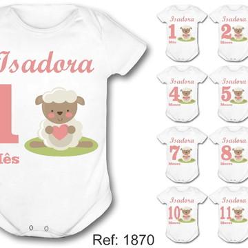 kit body mesversário ovelhinha cute ovelha rosa nome bebê