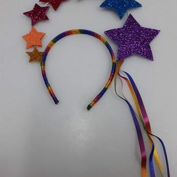 Tiara Estrelas Arco Iris
