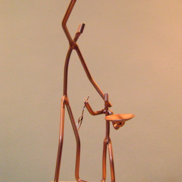 """Escultura em ferro e madeira """"Multiplicação"""""""