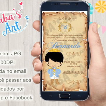Convite Digital Reinado Príncipe Pergaminho Para Whatsapp