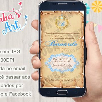 Convite Digital Reinado Coroa Pergaminho Para Whatsapp