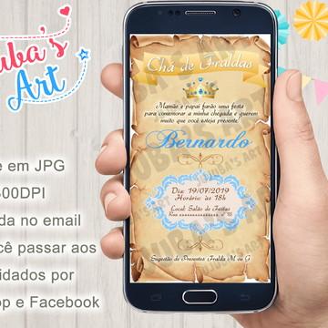 Convite Digital Chá de Bebê Reinado Pergaminho Para Whatsapp