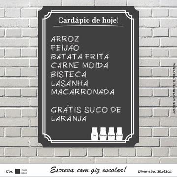 Placa Decorativa Restaurante Cardápio De Hoje Escrita De Giz
