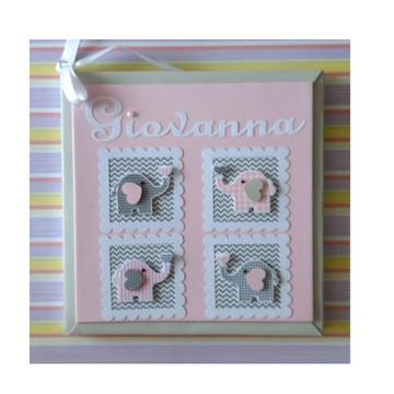 Livro do Bebê Personalizado menina elefantinho cinza e rosa