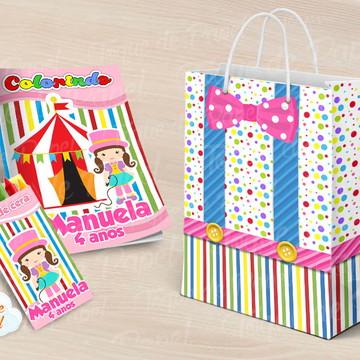 Revista Revistinha para pintar circo rosa menina