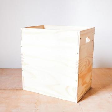 Caixote Coleção p/ LP's Discos de Vinil Madeira Pinus: P