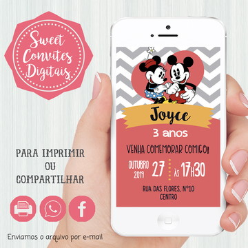 Convite Digital Mickey e Minnie Vintage